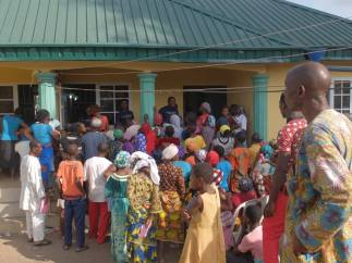 Patients waiting to collect medicines